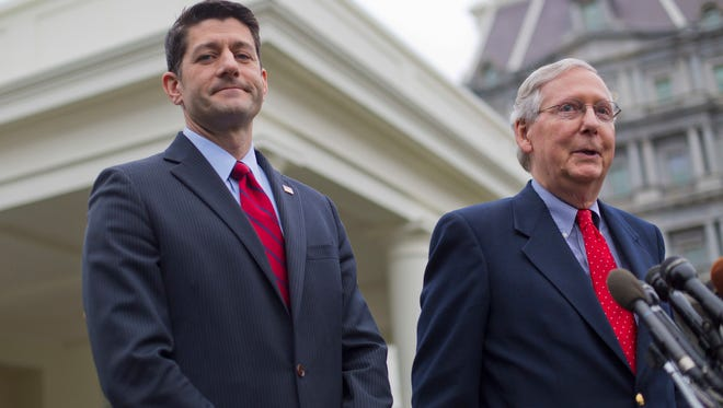 FILE - In this Feb. 27, 2017, file photo, House Speaker Paul Ryan of Wis. listens at left as Senate Majority Leader Mitch McConnell of Ky. speaks to reporters outside the White House in Washington, after meeting with President Donald Trump. After seven years of saber-rattling, Republicans seem set to start muscling legislation through Congress reshaping the country's health care system. Don't confuse that with GOP unity or assume that success is guaranteed. Unresolved disputes over taxes and Medicaid rage and conservatives complaining that Republican proposals don't go far enough could undermine the effort, or at least make GOP leaders' lives difficult. (AP Photo/Pablo Martinez Monsivais, File)