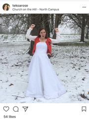 """Angela Watts wore her wedding dress to church last year after reaching her $1000 goal for her """"Dressember"""" fundraiser."""