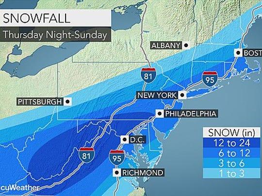 Snowfall Thursday night through Sunday