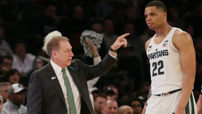 Michigan State Spartans head coach Tom Izzo reacts with guard Miles Bridges (22) against the Michigan Wolverines during the second half of a semifinal game of the 2018 Big Ten Tournament at Madison Square Garden.