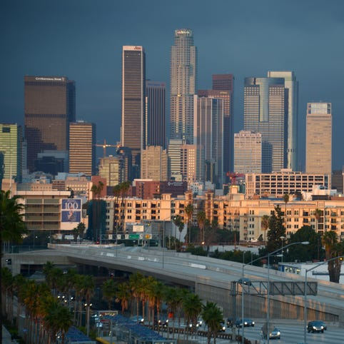 General view of the downtown Los Angeles skyline.