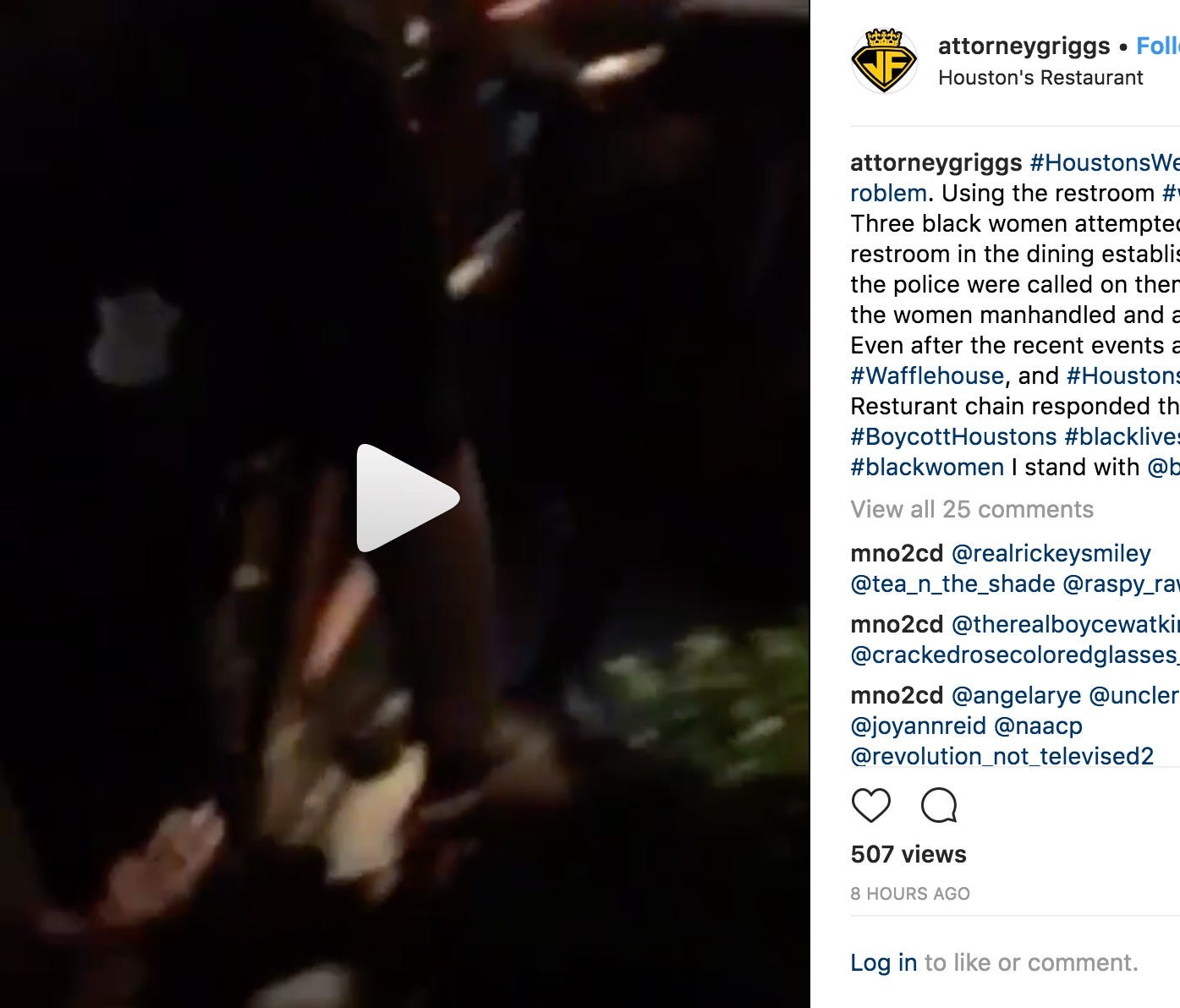 Video posted to Instagram shows the women on the ground, arguing with staff while a police officer handcuffs them.