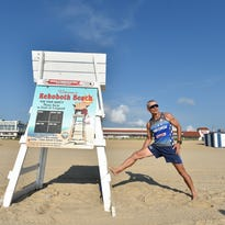 Andres Bonell of Fort Lauderdale, FL., runs on the sand at Rehoboth Beach during his stay at his home in Rehoboth.