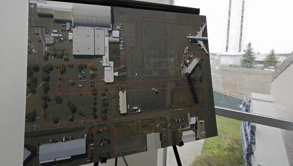 An aerial photo on display near the Paine Field control