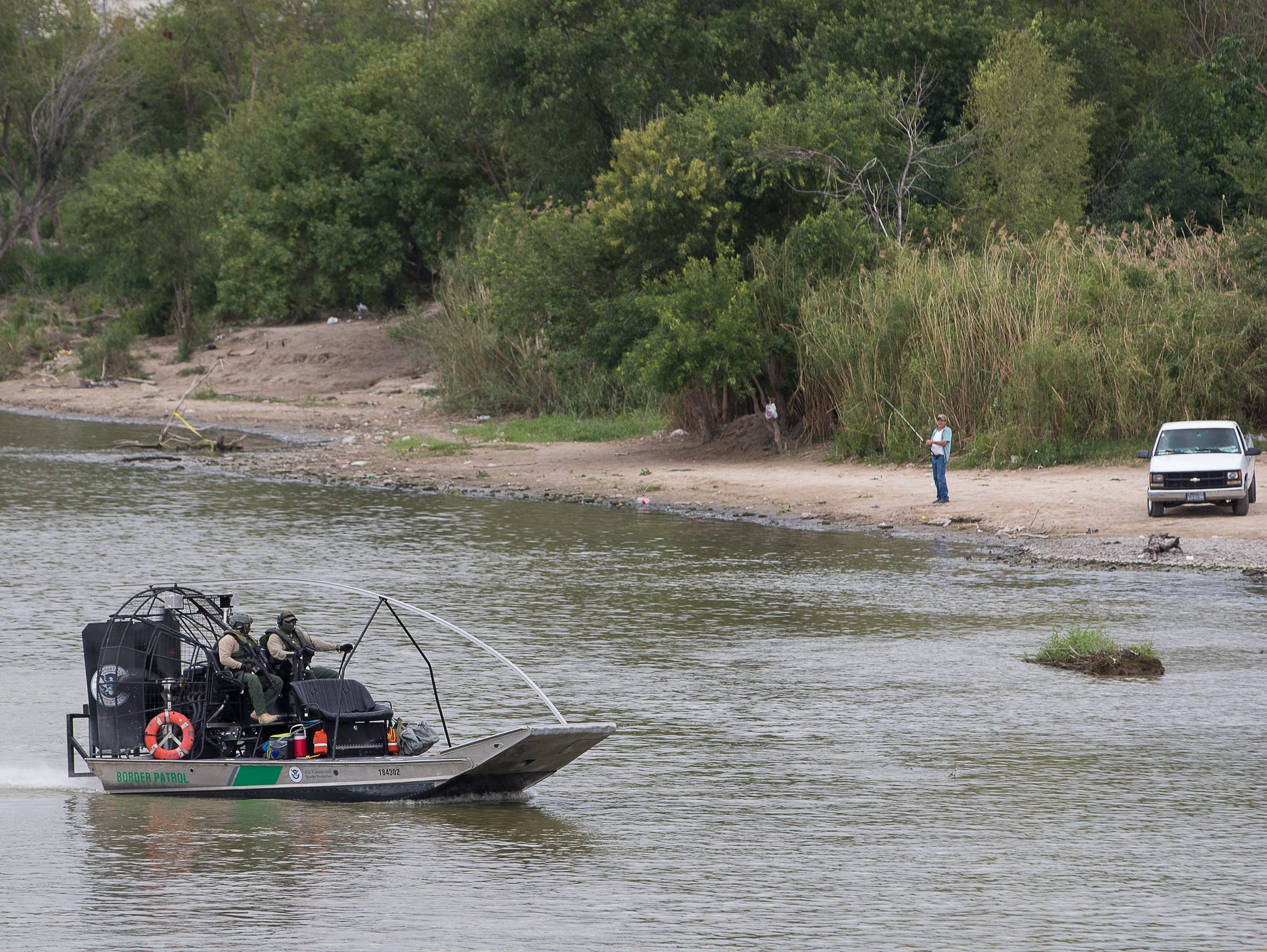 A United States Border Patrol air boat travels on the Rio Grande along the United States Mexico border in Laredo, Texas on April 9, 2018.