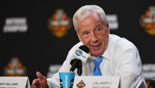North Carolina Tar Heels head coach Roy Williams speaks at a press conference after defeating the Gonzaga Bulldogs in the championship game of the 2017 NCAA Men's Final Four at University of Phoenix Stadium.