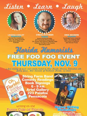 """""""Writing on the Funny Side of Florida"""" features three Florida authors in workshops and readings on Thursday, Nov. 9, 2017."""