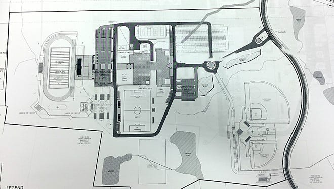 The plans for the Burns middle school on Aug. 1.