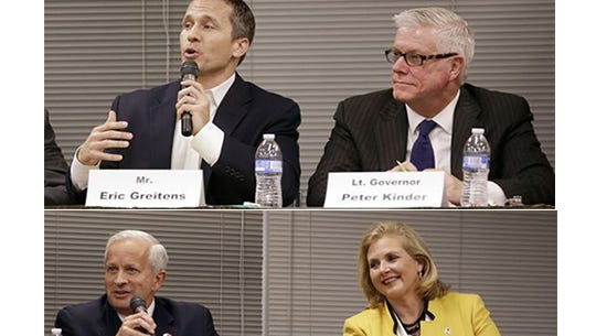 The four Republican candidates for Governor of Missouri, from top left: Eric Greitens, Peter Kinder, John Brunner and Catherine Hanaway.