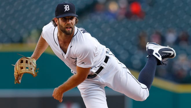 Detroit Tigers pitcher Daniel Norris throws against the Kansas City Royals in the first inning of a baseball game in Detroit, Friday, April 20, 2018.