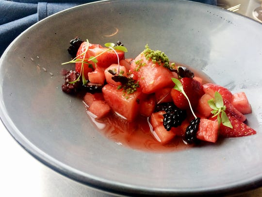 Watermelon salad with berries, blood oranges and crystallized