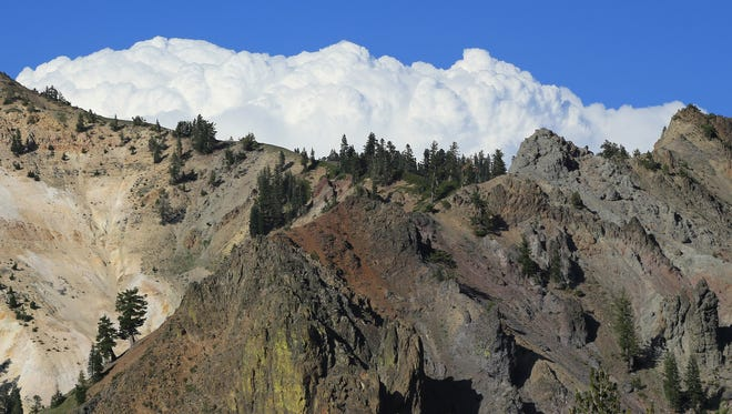 Clouds gather over the peaks of Lassen Volcanic National Park in northern California.