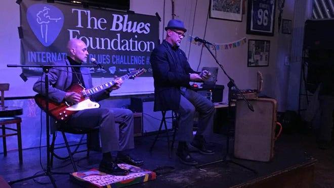 Ed Pickett and John Bull on stage early this year at the International Blues Challenge in Memphis, Tenn.