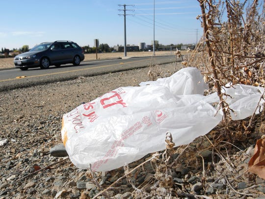 A plastic shopping bag litters the roadside Oct. 25, 2013, in Sacramento, Calif. Gov. Jerry Brown signed legislation Sept. 30, 2014, imposing the nation's first statewide ban on single-use plastic bags. Florida is considering passing similar legislation.