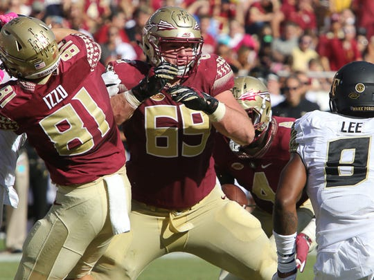 Florida State guard Landon Dickerson blocking Wake Forest's Marquel Lee earlier this season.