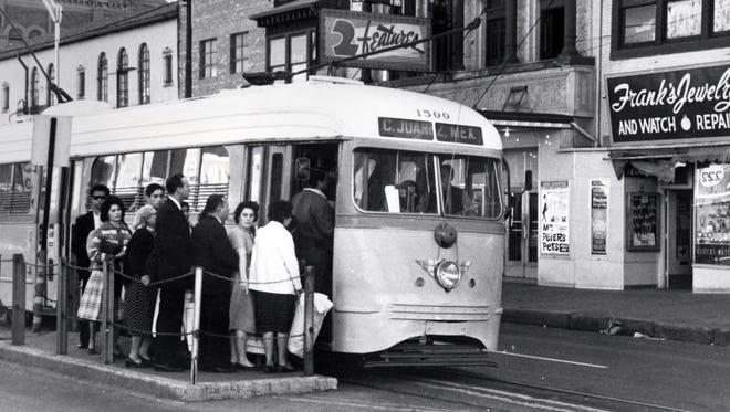 Riders board Streetcar No. 1500 in South El Paso in this undated photo.