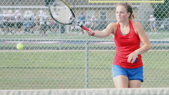 Senior Ashton Martin of the Moberly Lady Spartans tennis team opened the 2020 fall season as the No. 1 singles player, moving up four slots from a year ago. Martin lost a lengthy, hard-fought match to Palmyra's Kaitlyn Rindom 7-9 at home Tuesday. The Lady Spartans varsity team also lost by a 2-7 result.