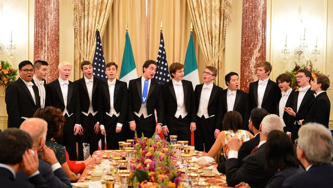 The Yale Spizzwinks(?), shown here singing for guests at the U.S. State Department, visit Brevard for a free performance March 14.