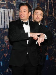 Jimmy Fallon, left, and Justin Timberlake attend the
