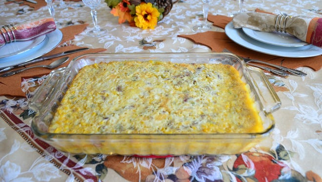 My corn pudding recipe is sweet and salty, as it has celery and onion. It's a huge hit at Thanksgiving and one of my favorite side dishes.