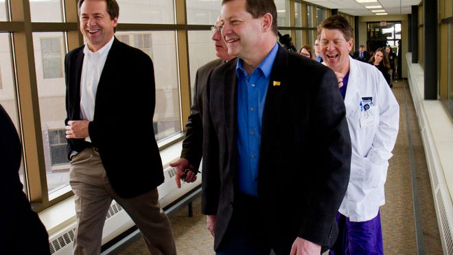 Gov. Steve Bullock was in Great Falls Thursday for a quick tour of Benefis and a roundtable discussion of Medicaid expansion with several legislators from the Great Falls delegation, including Sen. Ed Buttrey, GOP sponsor of a compromise bill.
