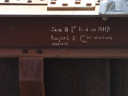 A message etched into the beam underneath the American
