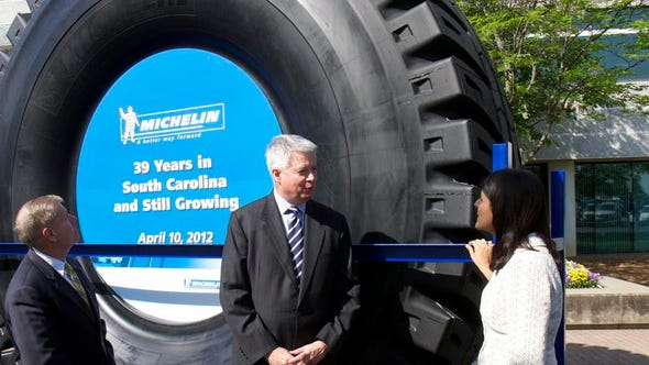 Pete Selleck, chairman and president of Michelin North America, was joined by Gov. Nikki Haley and U.S. Sen. Lindsey Graham to announce the company will invest $750 million in an earthmover tire manufacturing plant and create 500 new jobs in 2012.