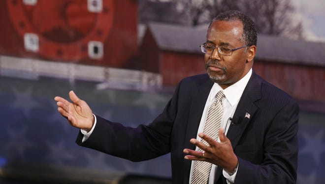 Dr. Ben Carson speaks at the Iowa Freedom Summit on Jan. 24 in Des Moines.