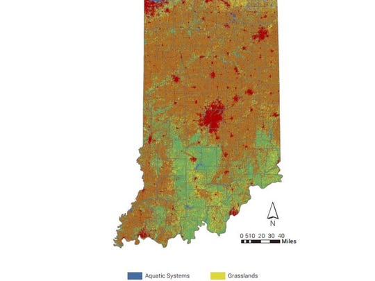 This map shows habitat and land use in Indiana.