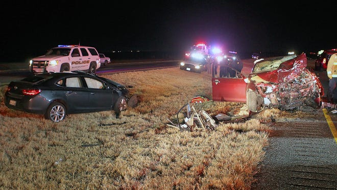 Two people died in a head-on collision Thursday night on I-44 near Burkburnett.
