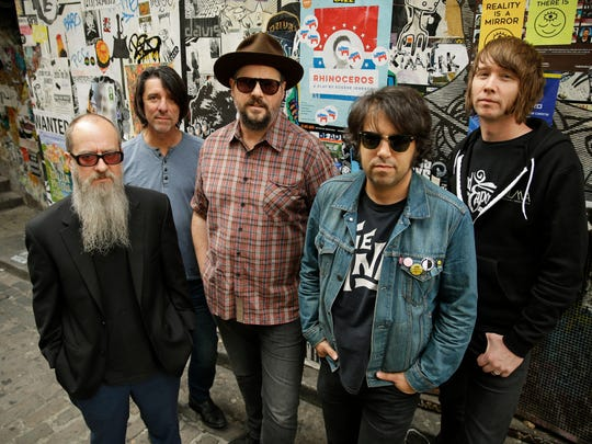Alternative country/rock act Drive-By Truckers, from left, Brad Morgan, Mike Cooley, Patterson Hood, Jay Gonzalez and Matt Patton pose for a photo in September before playing a show in Seattle.