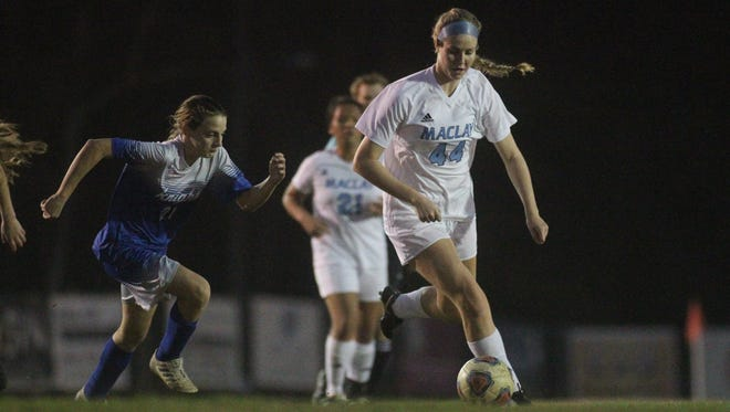 Maclay's Julianna Heuchan dribbles into the attacking third during a district championship against Rocky Bayou.