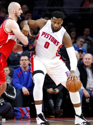 Pistons center Andre Drummond (0) gets defended by Wizards center Marcin Gortat (13) at the Palace.