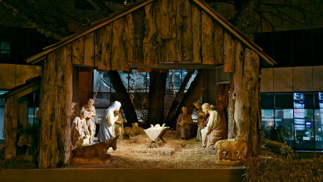 A nativity scene purchased in 1944 now sits in front of U.S. Bank Monday, Dec. 21 and has been on display there during the holidays  since 1988.