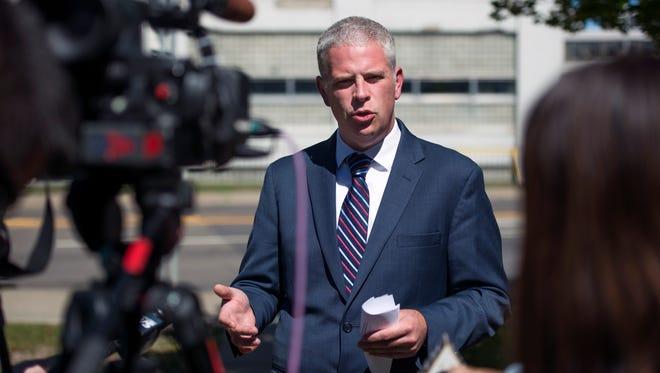 County executive candidate Jason Garnar discusses his economic development plan Thursday in Endicott.