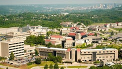 An aerial shot of Northern Kentucky University. Downtown