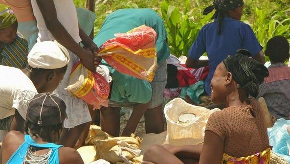 The outdoor market in Barreau Michel in rural Haiti