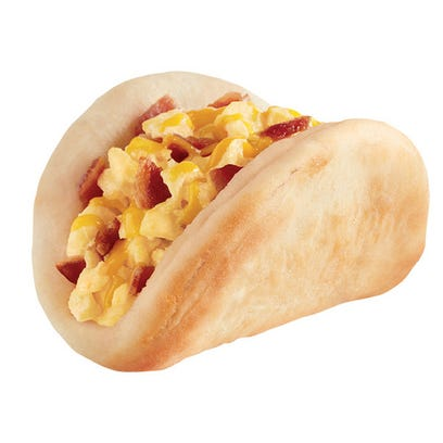Biscuit Taco with bacon egg and cheese.
