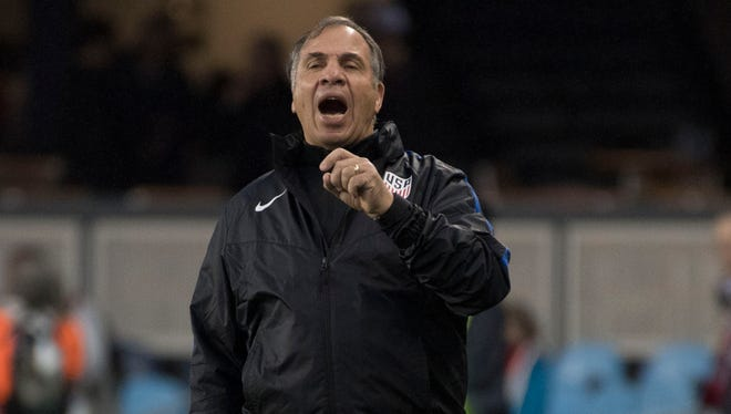 United States coach Bruce Arena coaches at the men's World Cup soccer qualifier against the Honduras at Avaya Stadium in San Jose.