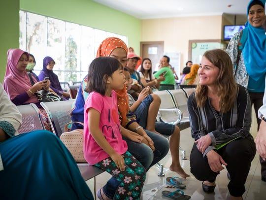 Melinda Gates at a hospital in Yogyakarta, Indonesia,