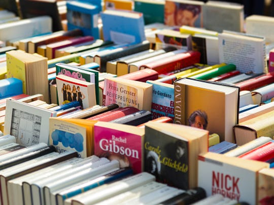 Full Frame Shot Of Books For Sale