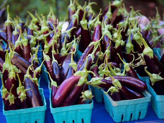 Eggplants at the farmer's market