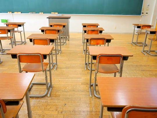 School desks.