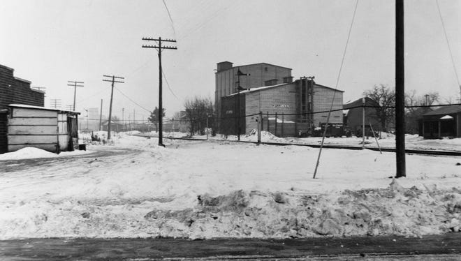 A view of the Ice Service Inc. building from around 1925, taken looking west from Wilson Avenue Northeast in St. Cloud.