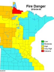 A Minnesota DNR map of the fire risk on April 30, 2018.