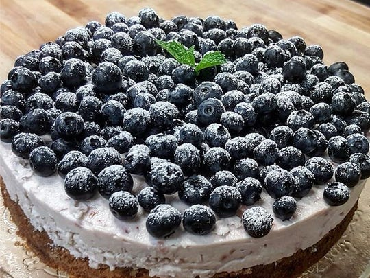 An Italian-style blueberry cheesecake posted to the Instagram account of Colleoni's Eatery & Bakery.