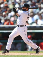 Tigers catcher Alex Avila gets a hit during the fourth