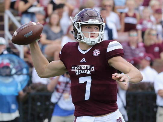 Mississippi State quarterback Nick Fitzgerald (7) prepares to pass the ball during the first half of an NCAA college football game against Charleston Southern in Starkville, Miss., Saturday, Sept. 2, 2017. (AP Photo/Jim Lytle)