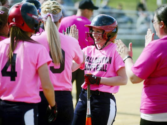 Dallastown's Haylee Anders is greeted by her teammates after hitting a double-RBI home run, her 100th career hit, in the second inning of a softball game on Wednesday, April 29, 2015, at Red Lion. Dallastown defeated Red Lion 15-5 in five innings for Dallastown coach Jeff Deardorff's 100th Wildcat victory. Dallastown's Haylee Anders also hit a double-RBI home run for her 100th career hit, in the second inning. Chris Dunn — Daily Record/Sunday News