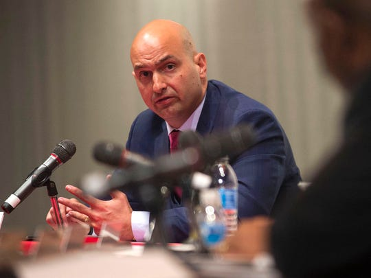 Detroit Public Schools Community District superintendent candidate Nikolai Vitti responds to a question while he is interviewed by the DPSCD Board of Education on Wednesday, March 29, 2017 at Detroit Collegiate Preparatory High School in Detroit.